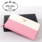 PRADA- 1M0506-16 女款錢包 女士女包牛皮 長款拼色拉鏈手包