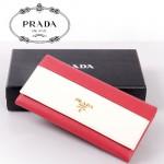 PRADA- 1M1132-23 新款牛皮錢包撞色十字紋牛皮錢包大牌中長款女錢包