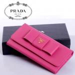 PRADA- 1M1132-27 新款 女士錢包 錢包 蝴蝶結中長款牛皮錢包