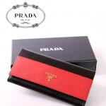 PRADA- 1M1132-21 新款牛皮錢包撞色十字紋牛皮錢包大牌中長款女錢包