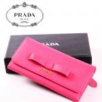 PRADA- 1M1132-24 新款蝴蝶結長款錢包 女式牛皮錢包 牛皮女士長款錢包