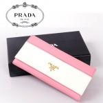 PRADA- 1M1132-19  saffiano牛皮十字紋拉鏈搭扣錢包手包