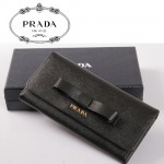 PRADA-  1M0506-31 新款PRADA 大蝴蝶結女士牛皮長款錢包
