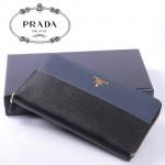 PRADA- 1M1188A -1十字紋牛皮男士錢包中長款拉鏈大牌原版皮男士錢包