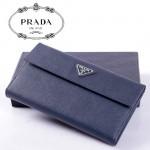 PRADA- 1M1133A 新款 中長款按扣真皮男女通用錢包