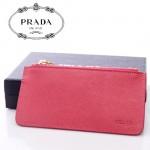 PRADA-  2M1343-2  新款牌拉鏈十字紋牛皮鑰匙扣零錢包女手拿手抓包