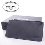 PRADA- 2M1343  新款牌拉鏈十字紋牛皮鑰匙扣零錢包女手拿手抓包