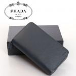 PRADA- 2M1302  錢包雙拉鏈長款男女牛皮加厚版多卡位頭層牛皮