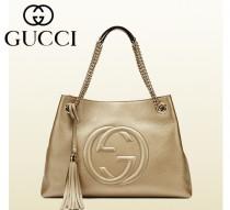 GUCCI 古馳 新品歐美時尚真皮女包 金屬鏈條流蘇手提包 單肩購物袋308982-9