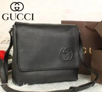 GUCCI 古馳專櫃新款歐美時尚男包 時尚全皮男包單肩斜跨包包 322023