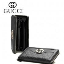 Gucci 全皮壓花長款錢夾皮夾 291132