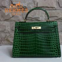 HERMES 1274 新款時尚秋冬熱款墨綠色鱷魚皮金扣女士包包