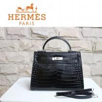HERMES 1273 秋冬新款人氣時尚女包鱷魚皮黑色