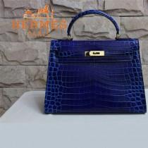 HERMES-1270  秋冬新款凱莉高光鱷魚皮深藍色女士包包