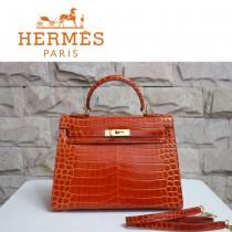HERMES 1272 秋冬新款時尚奢華單品鱷魚皮橙色金扣