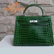 HERMES 1275 新款時尚女士鱷魚皮墨綠色銀扣包包