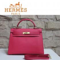 HERMES 1608-29 秋冬時尚款女士新款玫紅色金扣掌紋包手提包