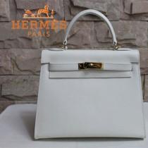 HERMES 6108-21 秋冬時尚新款掌紋包白色金扣手提包