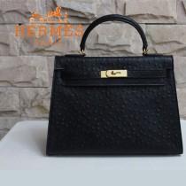 HERMES 1283 秋冬時尚新款女士鴕鳥紋黑色金扣手提包