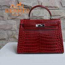 HERMES 1282 秋冬季新款時尚熱銷女士棗紅色銀扣手提包