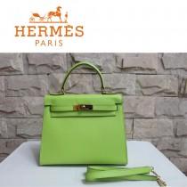 HERMES 6108-24  秋冬新款時尚女士草綠色掌紋包金扣手提包