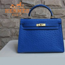 HERMES 1284 秋冬時尚新款女士爆款深藍色鴕鳥紋手提包
