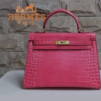 HERMES 1279 新款秋冬季人氣熱銷單品女士西瓜紅鱷魚皮金扣包包