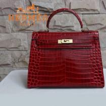 HERMES 1281 秋冬季新款時尚女士棗紅色鱷魚皮手提包