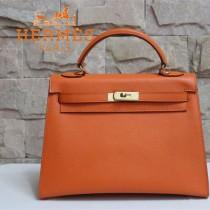 HERMES 6108-25 秋冬新款時尚女士橙色金扣掌紋包手提包