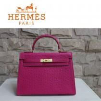 HERMES 1285 秋冬季新款時尚人氣女士桃紅色鴕鳥紋金扣手提包