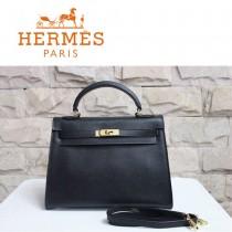 HERMES 6108-27 時尚新款秋冬人氣爆款女士黑色掌紋包金扣單肩包