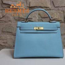 HERMES 1608-30 秋冬季淑女風淺藍色金扣掌紋包手提包