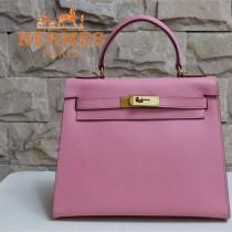 HERMES 6108-26 秋冬季時尚人氣新款女士粉紅色掌紋包金扣手提包