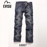 EVISU E6007 新款陳冠希男牛仔褲直筒潮流魚鉤圖案韓版