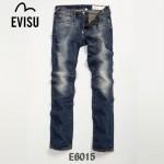EVISU E6015 新款陳冠希同款韓版直筒眼睛圖案時尚牛仔褲