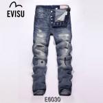EVISU E6030-01 陳冠希同款潮男破洞貓須印花修身直筒牛仔裤