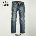 EVISU E3042-01 新款貓須陳冠希同款潮男韓版百搭直筒牛仔褲