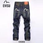 EVISU E6069-01 新款陳冠希同款複古懷舊韓版直筒男士牛仔褲子