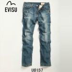 EVISU U8157-01 陳冠希同款街頭韓版男式修身小直筒牛仔褲