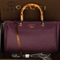 GUCCI 323660-8 新款女包時尚手提斜跨竹節包牛皮購物袋