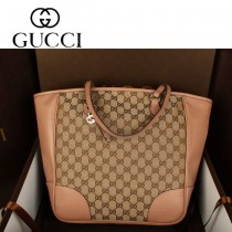 GUCCI 323671-4 新款杏粉帆布拼接歐美時尚 手提斜跨女包