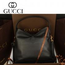 GUCCI 338982 新款女包手提包編織黑色全皮時尚包包