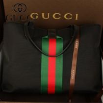GUCCI 337070 男士新款手提包公文包旅行包經典帆布包黑色男包