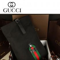 GUCCI 337075 新款黑色帆布配皮男女通用雙肩包 休閑背包