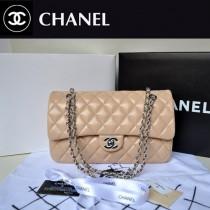 chanel 潮流時尚杏色銀鏈女包 A1113-4