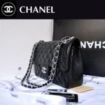 CHANEL 經典2.55黑球紋銀鏈紅里時尚女包 A1112-4