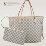 LV N41361 潮流人氣新款女士Neverful白棋盤格配小包中號購物袋