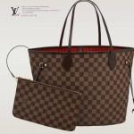 LV N41358 新款女士Neverfull咖啡棋盤格帶小包中號購物袋