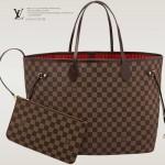 LV N41357 新款女士Neverfull咖啡棋盤格帶小包大號購物袋