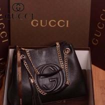 GUCCI 308982-03 古馳新款黑色全皮 女士手提包 時尚單肩包